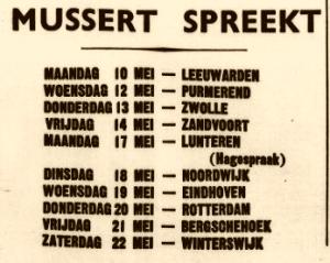 De Volk en Vaderland van Mei 1937 kondigt een bezoek van Mussert aan Noordwijk aan.