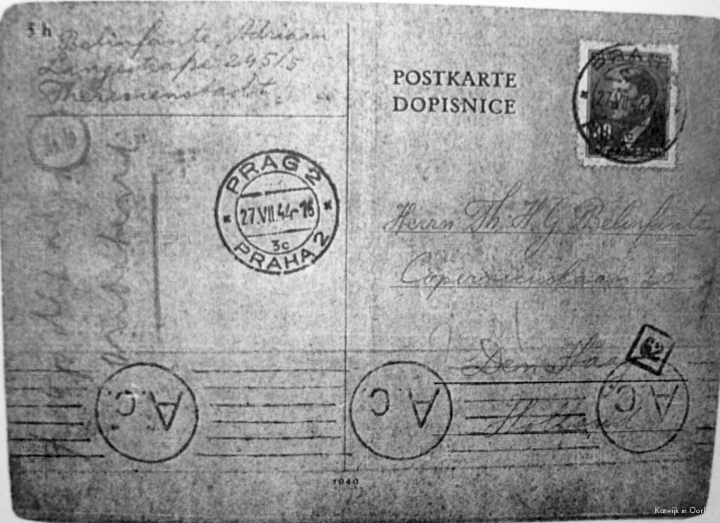 Een kaart die Adriaan Belinfante stuurde vanuit Langstrasse 245/5 te Theresienstadt aan een familielid in Den Haag.