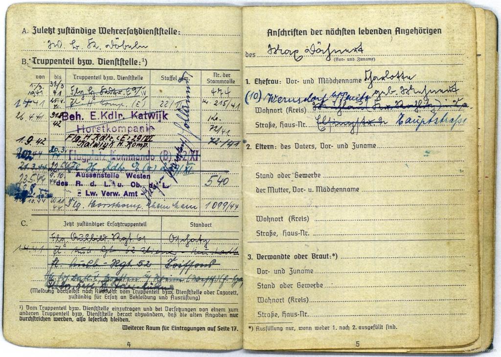 Een greep uit het soldbuch van Obergefreiter Dälmert die in 1941 en 1942 gestationeerd was op Flugplatz Katwijk.