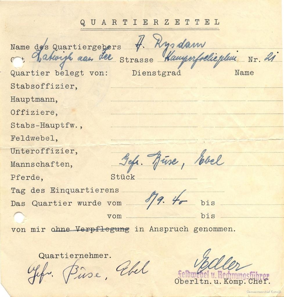 Bij de familie Rijsdam aan Kamperfoelieplein 21 werd Korporaal Büse ondergebracht.