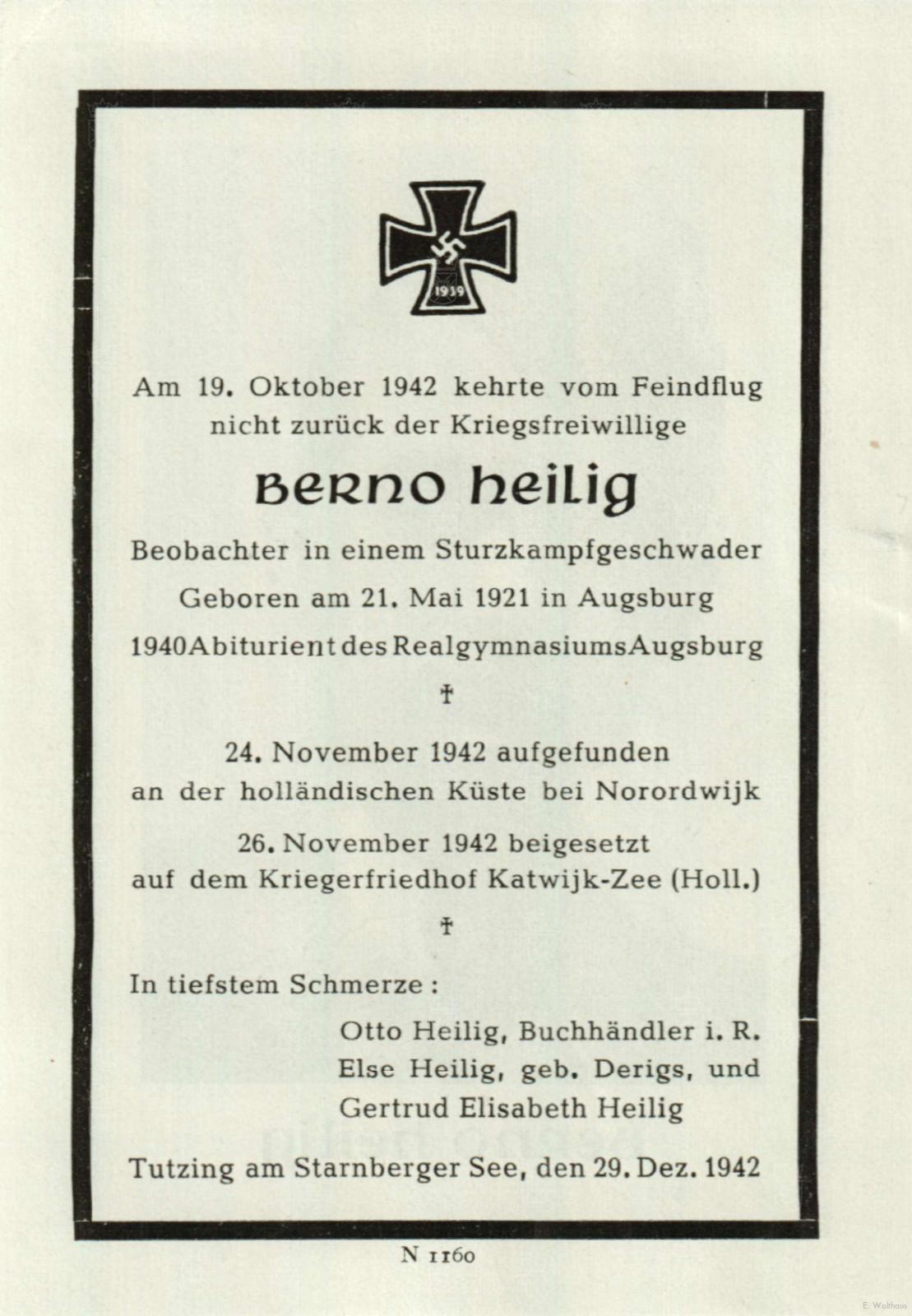 Het bidprentje uitgegeven ter nagedachtenis aan Berno Heilig.