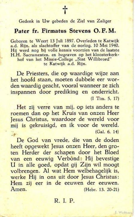 Het bidprentje ter nagedachtenis aan Pater Firmatus Stevens.