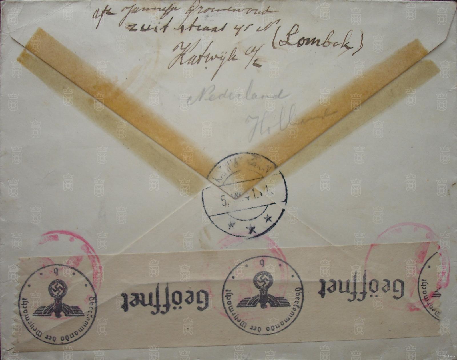Een brief verstuurd naar Amerika door Jannetje Groenewoud uit de Zuidstraat. Leuk detail, ze heeft haar buurtje Lombok ook vermeldt bij het afzenderadres.
