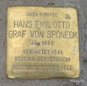 De stolperstein ter nagedachtenis aan Hans von Sponeck.
