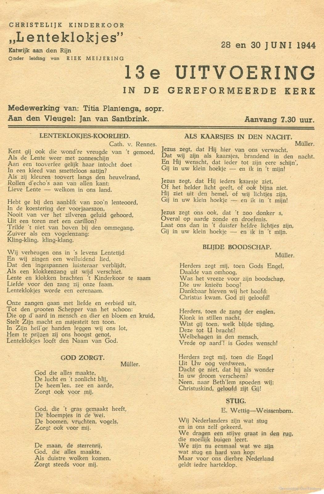 Een aankondiging voor een uitvoering van de Lenteklokjes in 1944.