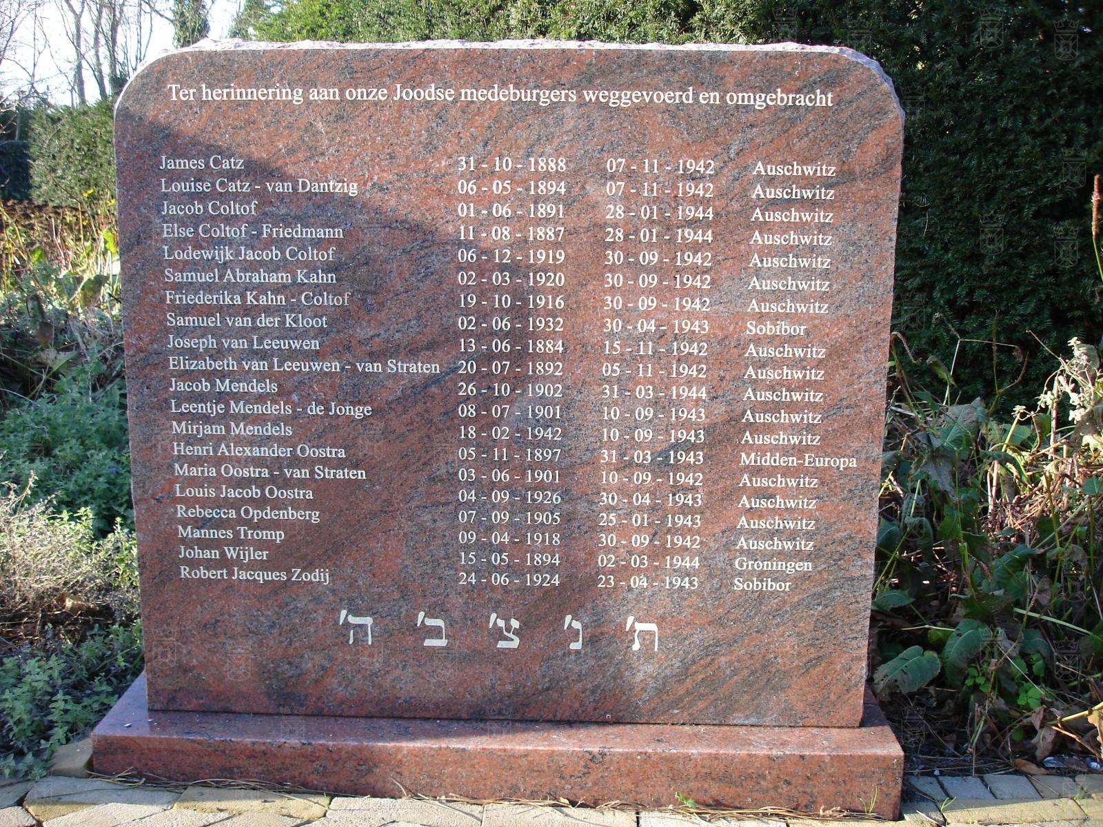 Het monument voor de omgekomen joodse inwoners van Noordwijk.