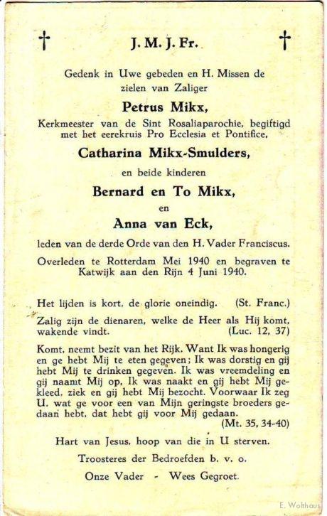 Het bidprentje voor de familie Mikx.