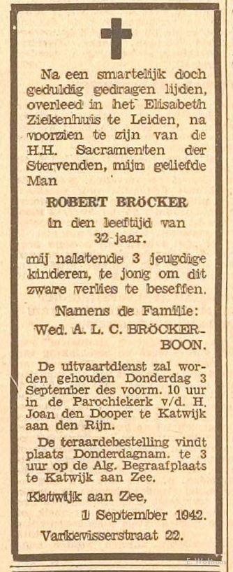 De overlijdensadvertentie van Robert Bröcker.