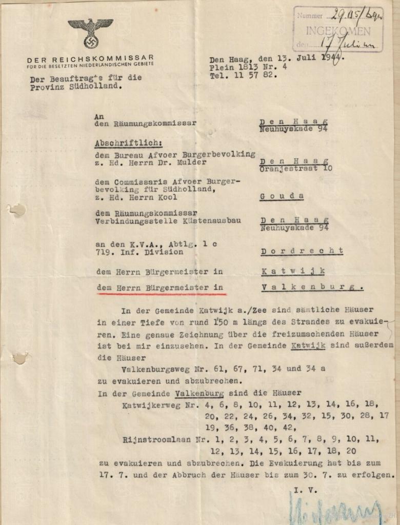Het Duitse bevel tot afbraak van de woningen aan de Katwijkerweg en Rijnstroomlaan.