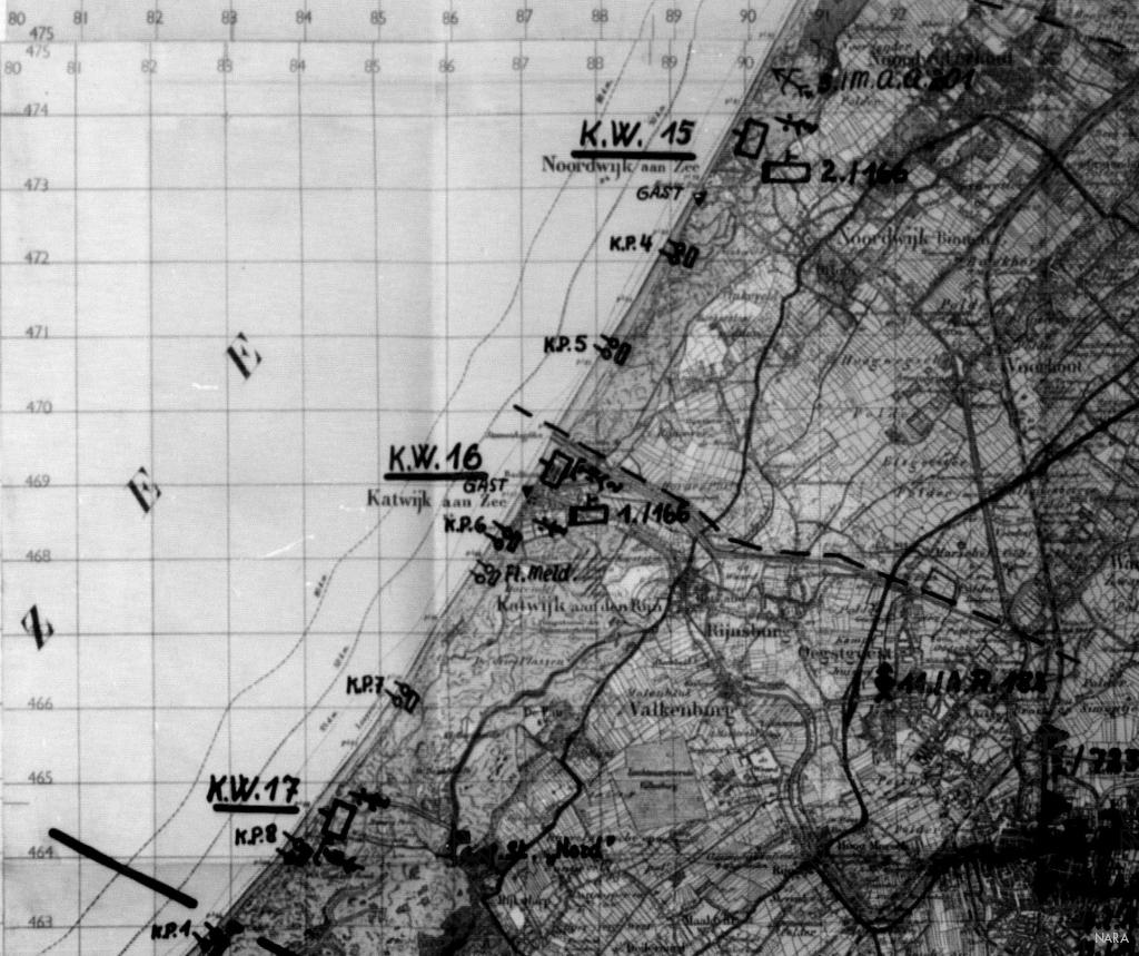 Overzichtskaart met de Küstenwachen en Küstenposten bij Katwijk en Noordwijk.