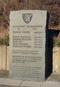 Het monument ter herinnering aan de op 29 februari 1944 omgekomen Franse commando's.